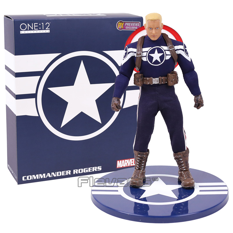 MEZCO Captain America 1/12 Scale PVC Action Figure Collectible Model Toy (real clothes) 16cm