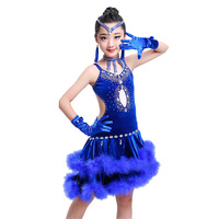 8pcs Hand Made Latin Dance Dress Girls Flamengo Dancing Costumes Students Tango Tassel Suit Fur Diamond Competition Wear D 0279