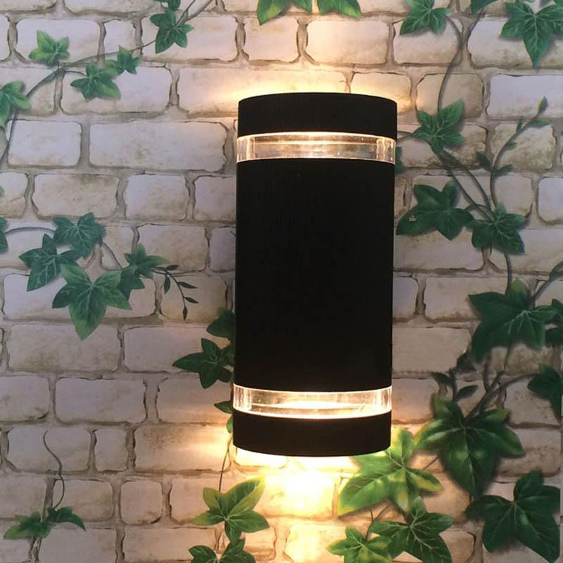 6 pcs/lot 8 W GU10 E27 Base ampoule extérieure applique murale en aluminium haut et bas appliques étanche porche appliques IP65 noir/gris/blanc