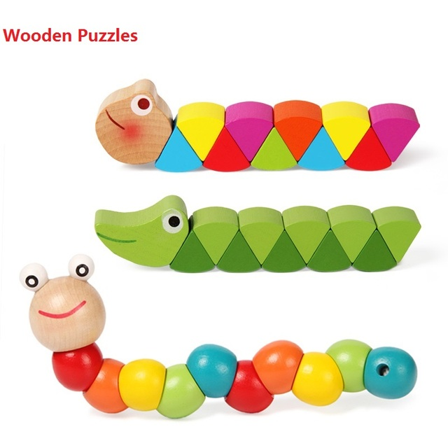 Colorful Wooden Worm Puzzles Kids Educational Baby intelligence Development Toys Fingers Game for Children Montessori Gift