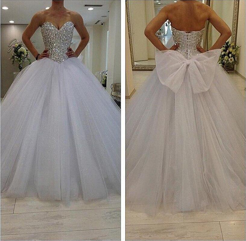 2015 custom made beaded silver crystal bodice sweetheart for Silver beaded wedding dress