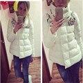 Moda Diseñador Turn Up Collar Casual Abrigos Parka Con Rhinestone Gruesas Chaquetas Para Mujeres Winter Warmer Outwear