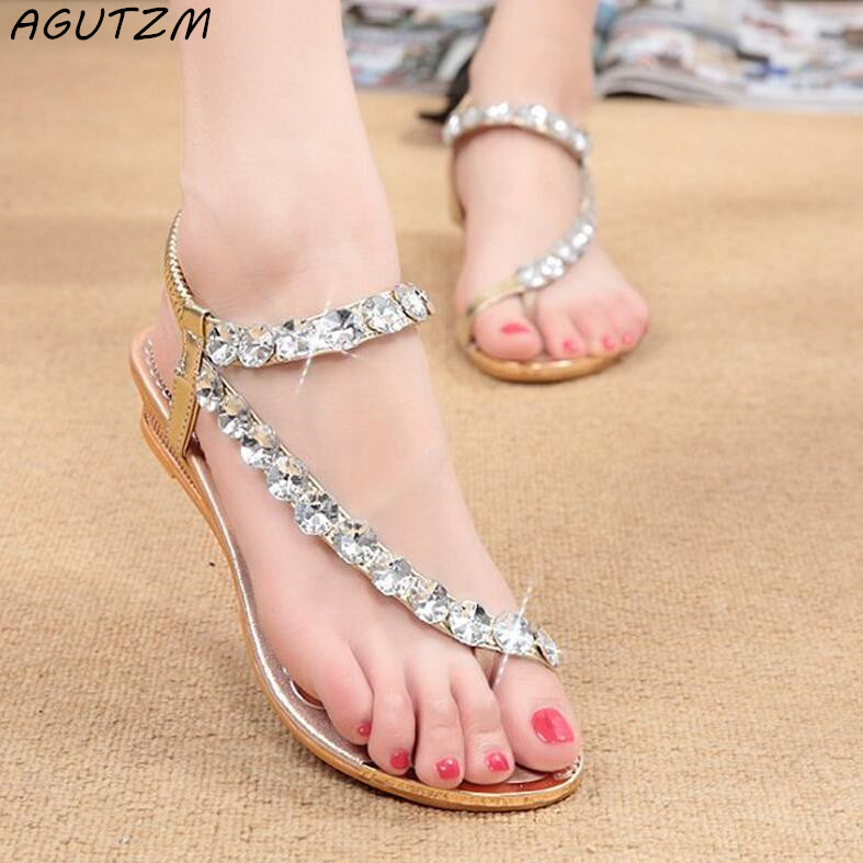 AGUTZM Sandals Women Rhinestone Summer Shoes wedges Slip On Shoes Woman Waterproof Party Women's Shoes Wedding Shoes phyanic 2017 gladiator sandals gold silver shoes woman summer platform wedges glitters creepers casual women shoes phy3323