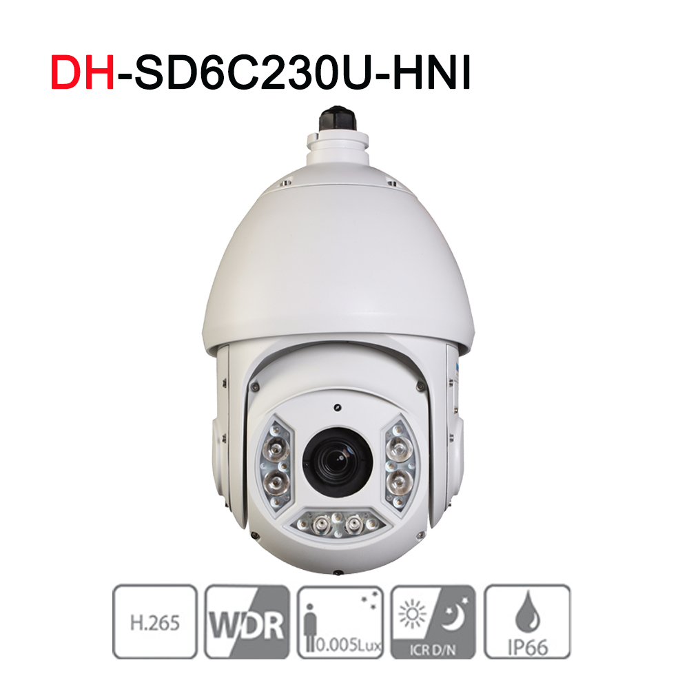 SD6C230U-HNI 2MP 30X Starlight IR PTZ Network IP Camera 4.5-135mm Optical Zoom 150m IR Starlight H.265 Auto-tracking IVS dahua 4mp ptz camera sd59430u hni h 265 30x optical zoom 4 5mm 135mm lens auto tracking and ivs support poe ir100m ip66 wdr