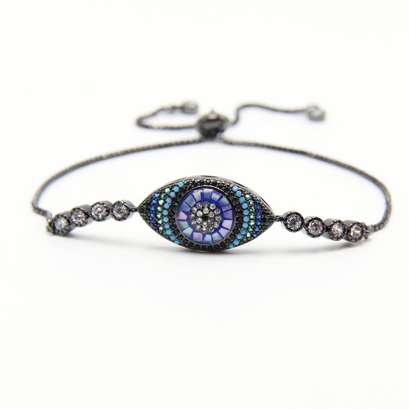 ZG Rhinestone Cubic Zirconia Bracelet Fashion Adjustable Evil Eye Bracelet