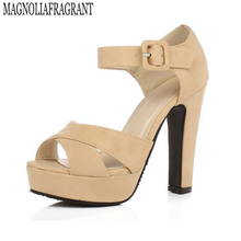 women shoes Thick High Heels Platform Summer Shoes For Women Sexy Casual Peep Toe Sandal sandalias
