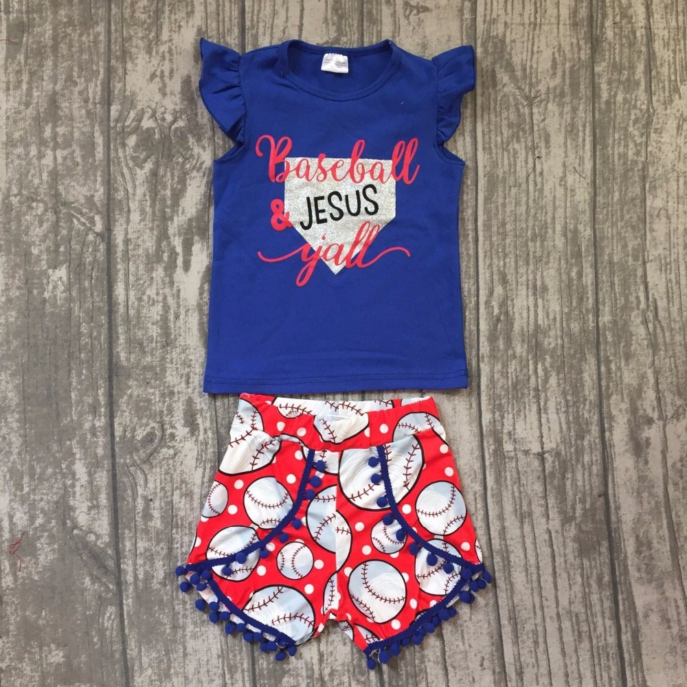 kids Baseball season clothes girls baseball outfits children ballgame clothing top with summer shorts boutique outfits