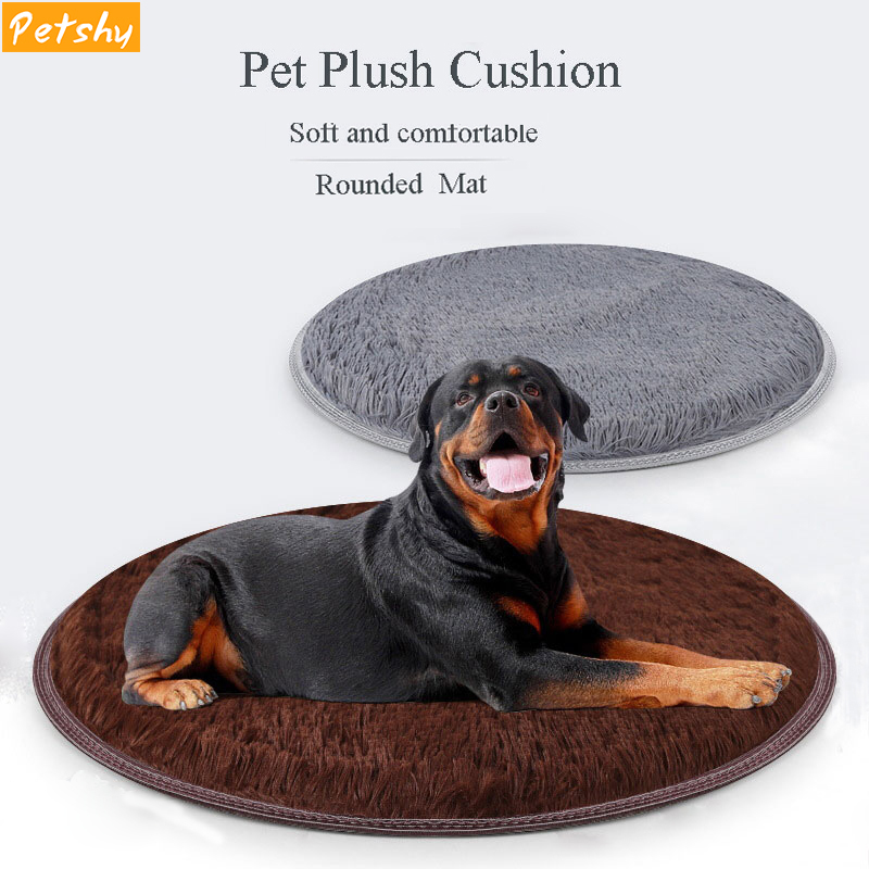 Petshy Pet Dog Puppy Cat Kennel Pad Bed Cushion Coral Fleece Mat Warm Soft Blanket Round Beds for Large Washable