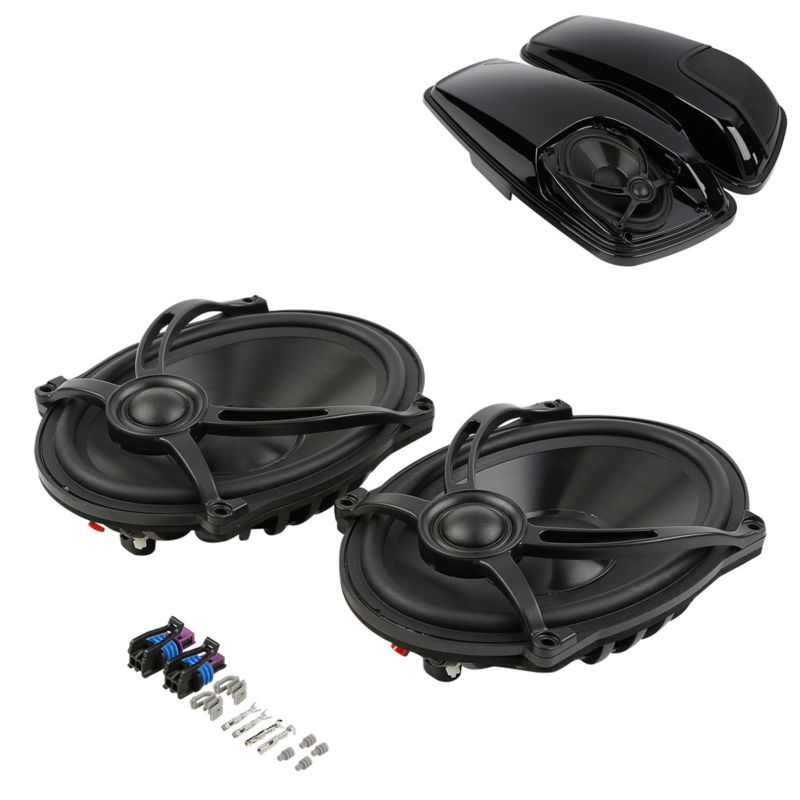 Black 5x7 Saddlebag Lid Speaker For Harley Touring Electra Street Glide Road King FLHTCU FLHRC FLHR FLTR  1994-2013 2014-2018 saddlebag lid rack top rail w light for harley touring ultra street electra glide 94 13