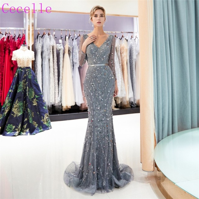 7428b7e8ae 2019 Grey Beading long Mermaid Prom Dresses With Long Sleeves Sexy V Neck  Women Formal Evening Party Gown Red Carpet Dress