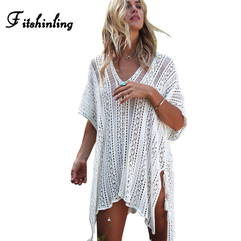 Fitshinling Lace up side split knitted beach dresses women oversize hollow out pareos batwing sleeve loose dress swimwear output