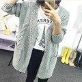 2017 Moda Malha Cardigan Solto Bolso Oco Manga Comprida Cardigans Casacos Camisolas das Mulheres Camisola Das Mulheres do Sexo Feminino Outerwear