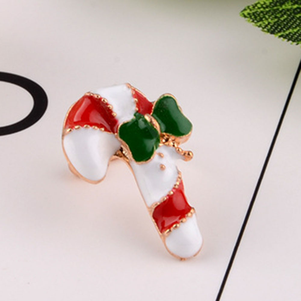 2019FASHION!3 Pcs/Set Xmas Gift Christmas Small Cute Enamel  Santa Claus Crutch Gift Box Ear Cuff Clip Non-piercing Earring(China)