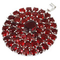 Long Big Blood Ruby Created SheCrown Woman's   Silver Pendant 45x36mm