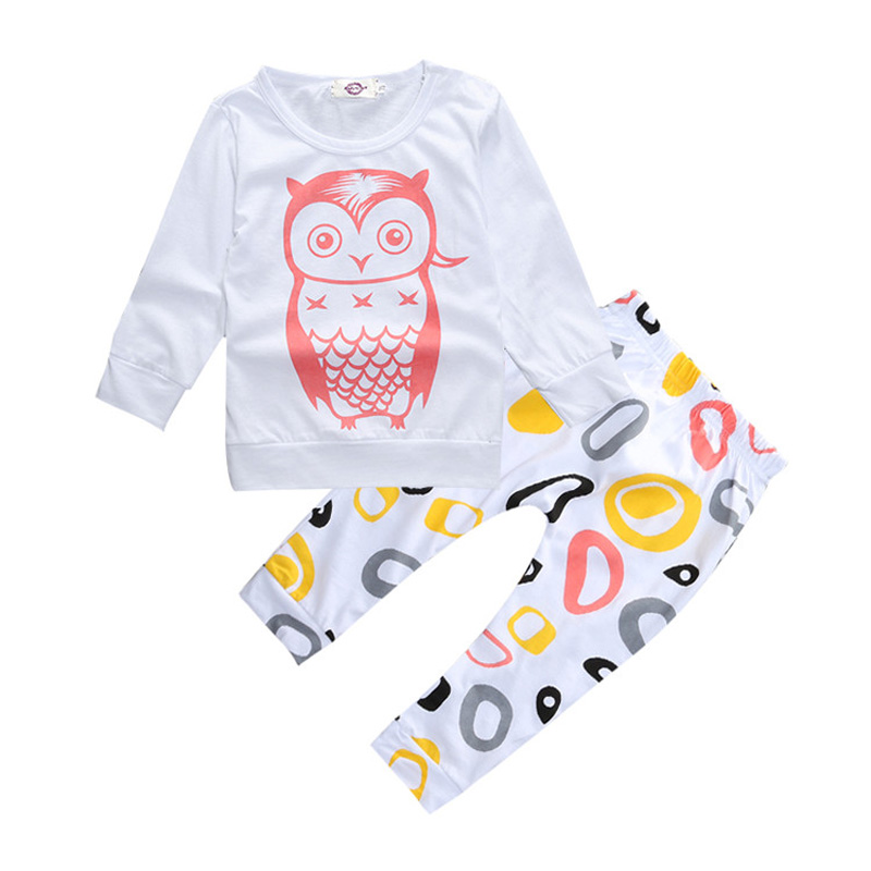 Baby Girl Clothes Set Cotton Longs Sleeve Tops+Pants Girls Clothing Set Fashion Newborn Clothes Owl Pattern Baby Clothing Suits