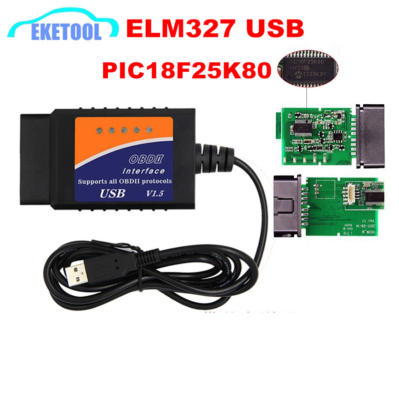 <font><b>ELM327</b></font> <font><b>USB</b></font> <font><b>V1.5</b></font> PIC18F25K80 Chip For Windows Supports All <font><b>OBD2</b></font> Protocols Firmware <font><b>V1.5</b></font> ELM 327 <font><b>USB</b></font> Auto OBD <font><b>OBD2</b></font> Tool image