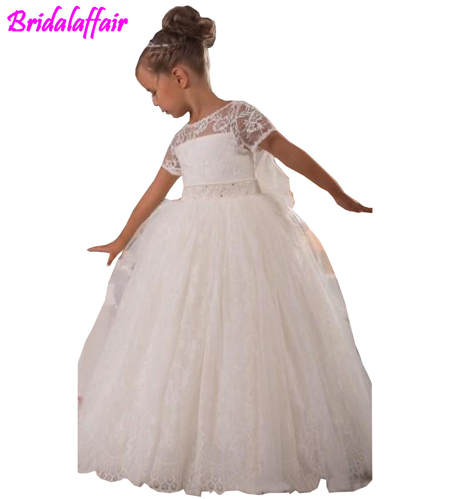 Hot Sale Vintage Princess Flower Girl Dresses A Line Sheer Beauty Neckline Short Sleeves High Quality Lace Girls 39 dress in Flower Girl Dresses from Weddings amp Events