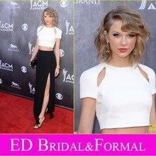 Taylor zu 2014 ACM Awards Roter Teppich High Slit Zwei Stück Prom Kleider Kurzarm Schwarz und Weiß Promi Abendkleid
