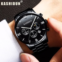 Relogio Masculino KASHIDUN Men Watches Top Brand Luxury Fashion Business Quartz Watch Men Sport Full Steel