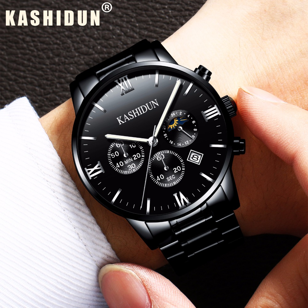 relogio masculino KASHIDUN Men Watches Top Brand Luxury Fashion Business Quartz Watch Men Sport Full Steel Waterproof Wristwatch woonun top famous brand luxury gold watch men waterproof shockproof full steel diamond quartz watches for men relogio masculino