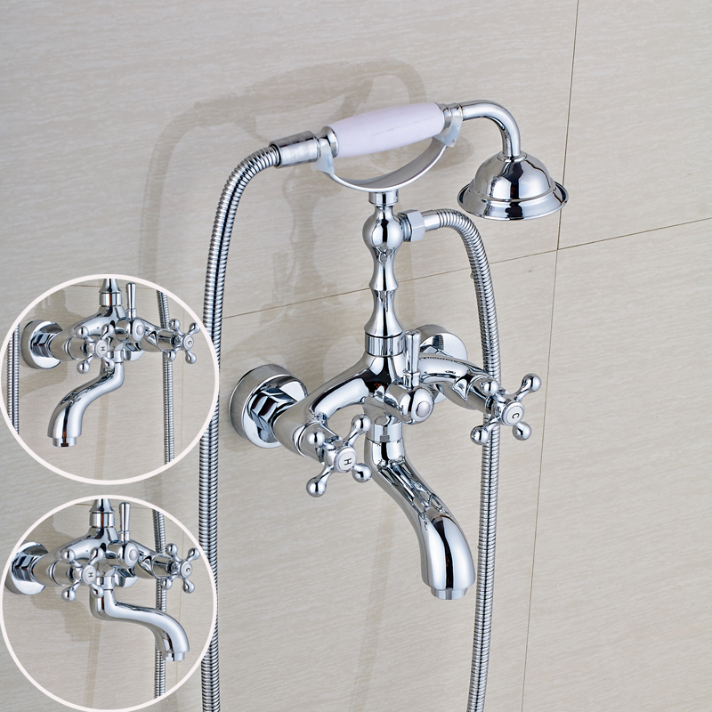 Contemporary Style Bathroom Tub Faucet Double Handle Mixer Tap with Handheld Shower Chrome