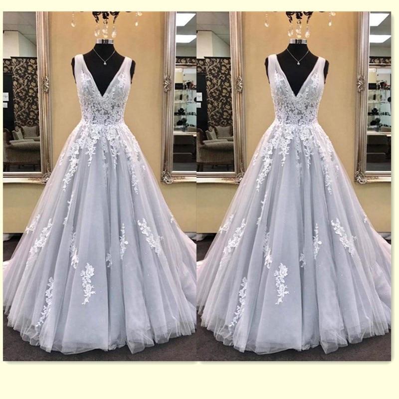 Elegant Long   Prom     Dresses   2019 V Neck Floor Length A Line Lace Applique Formal Gown Women vestido de festa vestido formatura