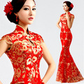 modern chinese traditional dress long cheongsam red xxxl phoenix plus size cheongsam wedding dress fishtail red lace  in sequin