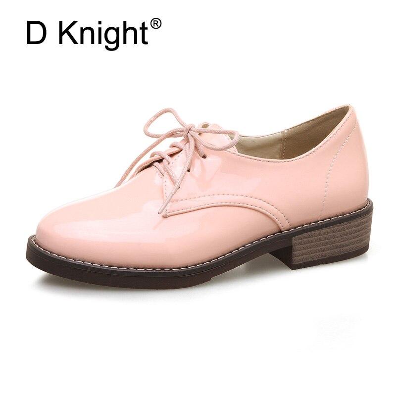 553d540c3 D Marca Cavaleiro Primavera Mulheres Plataforma Shoes Brogue Patente Flats  de couro Lace Up Calçados Femininos Planas Sapatos Oxford Para mulheres em  ...