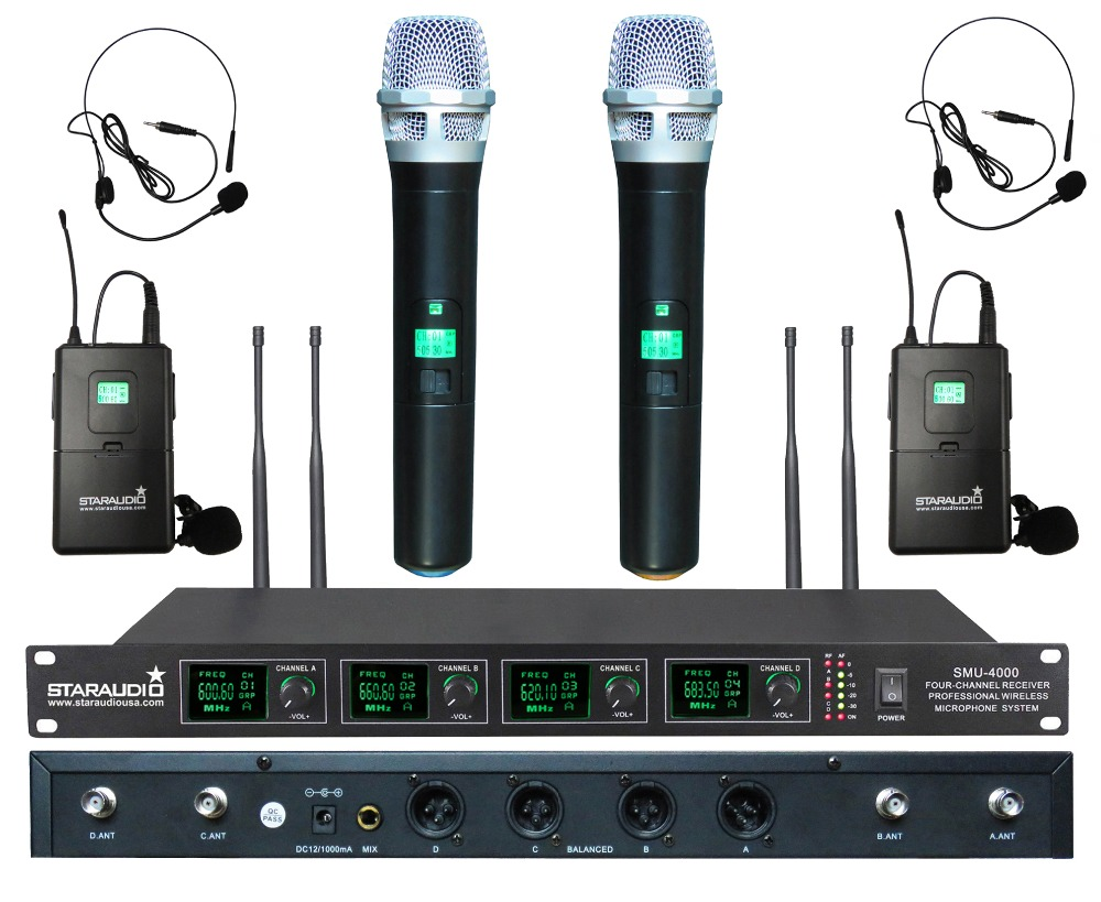 staraudio 4 channel uhf wireless microphone 4ch handheld headset mic party family school. Black Bedroom Furniture Sets. Home Design Ideas