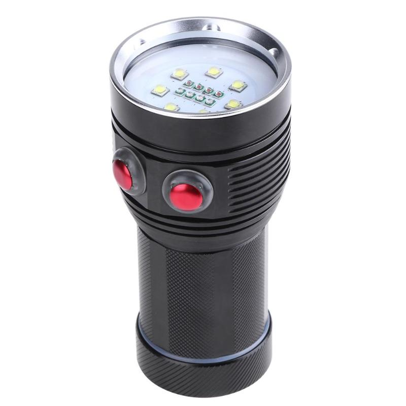 20000 Lumens Waterproof Scuba Diving 18650 Flashlight Torch Light Lamp For Diving Underwater Photographing Video 18000 lumens 9 l2 led diving flashlight waterproof lamp lamp work underwater torch diving light 4 18650 battery charger