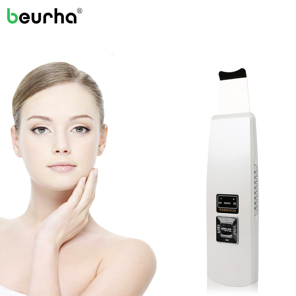 Beurha Ultrasound Skin Cleaner Ultrasonic Pore Cleaning Face Peeling Facial Cleansing Machine Acne Removal Tool Beauty Care