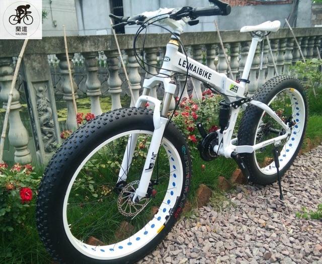 Kalosse Folding frame full suspension  Fat  bikes    Beach bicycle  26*4.0 tires , snow mountain bike , 21/24/27/30 speed