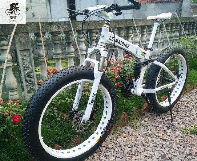 Kalosse Plegable suspensión de fotograma completo de Grasa bicicletas Playa de bicicletas 26*4.0 neumáticos, bicicleta de montaña de nieve, 21/24/27/30 velocidad