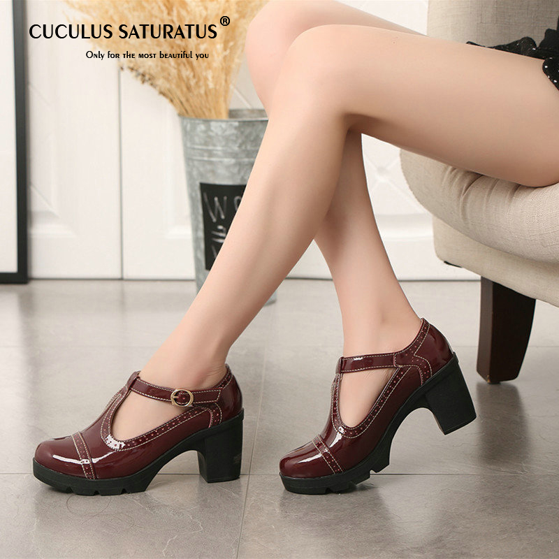 Cuculus 2019 Women Pumps Black High Heels Lady Leather Thick With Spring Summer Pointed Single Shoes Female Sandals 34-41 1081