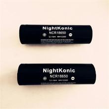 Nightkonic  2 PCS/LOT 18650 Battery  3.7V Li-ion Rechargeable Battery BLACK fandyfire 3 7v 1500mah 18650 li ion battery red 2 pcs