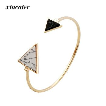 Xiacaier Triangle Bracelets Bangles For Women Simple Gold Color Open Cuff Bangle Love Bracelet Femme Bangle Pulseiras Simple bangle