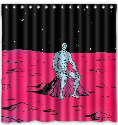 Silver Surfer Superhero Marvel Alone Fabric Shower Curtain 180x180cm  Waterproof Mildewproof Shower Curtains