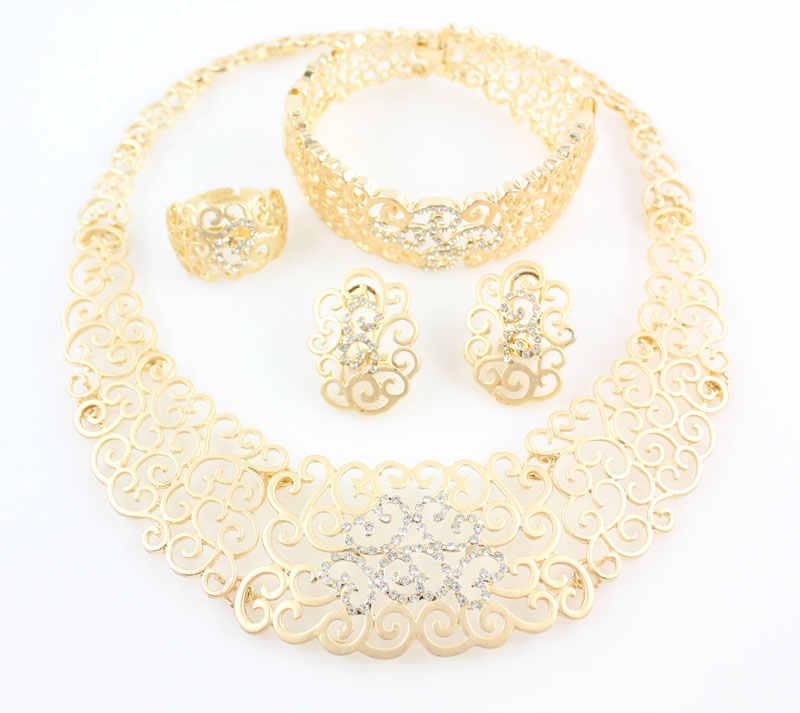 בציר הולו קריסטל פרח שרשרת עגילי זהב צבע אפריקאי דובאי תלבושות תכשיטי חתונה לנשים