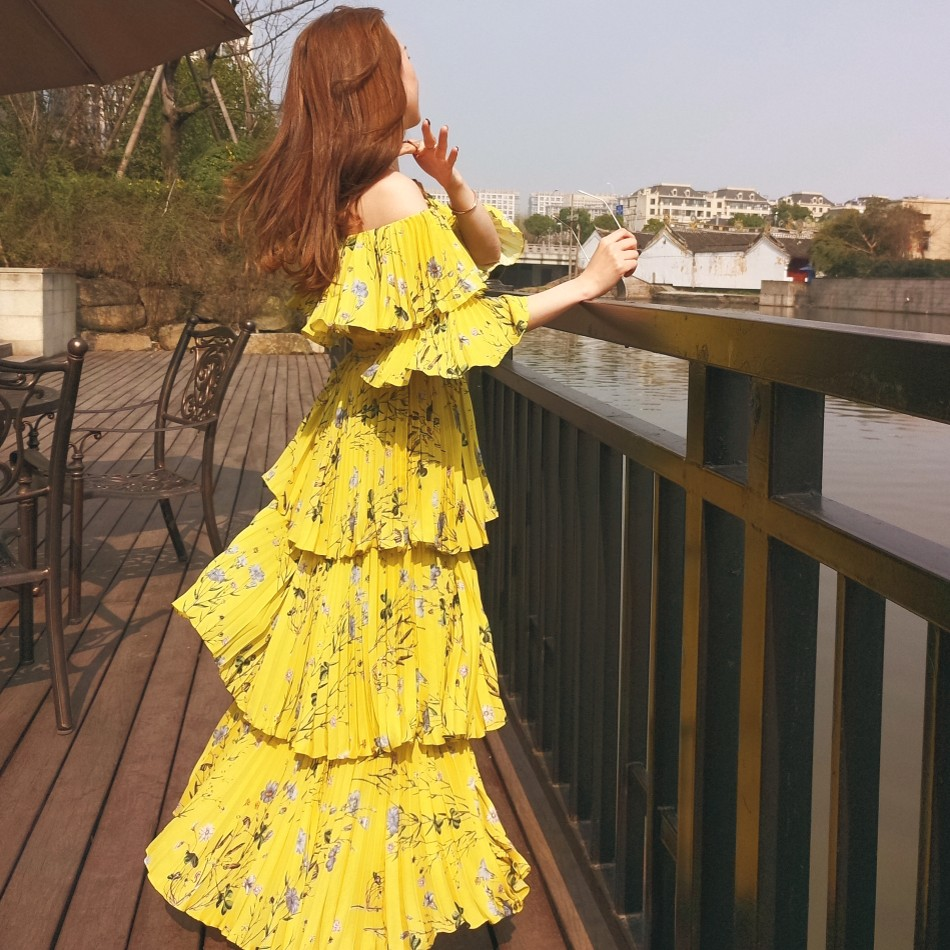 2018 Ruches Imprimé Femmes Soie Orange Off Maxi Portrait De Jaune D'été Bohème Auto Longue Mousseline Robe Épaule Floral Plissée 1qvtE