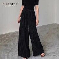Для женщин широкие штаны женские брюки Высокая талия широкие брюки полосатые брюки высокое качество Для женщин брюки