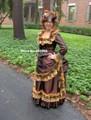 Personalizado Made1800s Vitoriana Bustle Vestido-Velho Oeste Reenactor Traje Vestido 1880 s-Bola Princesa Bridal Tea-Ouro laço de Cobre Tafetá