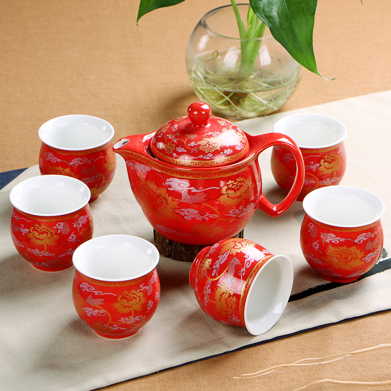 Wedding decoration Chinese Tea sets 6pcs insulation teacup 1pcs teapot Kung Fu tea wholesale The highest