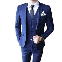 Blazers Pants Vest 3 Pieces Sets / 2018 fashion new mens casual boutique business wedding groom suit jacket trousers waistcoat