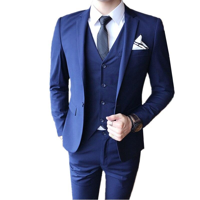 Blazers pantalones chaleco 3 unidades Sets/2018 moda de los nuevos hombres boutique de negocios boda novio traje chaqueta Pantalones chaleco