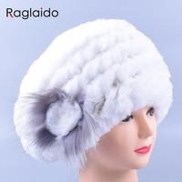 Raglaido Beret Winter Hat Women S Beanie Floral Real Fur Rex Rabbit Hats Caps Elastic High