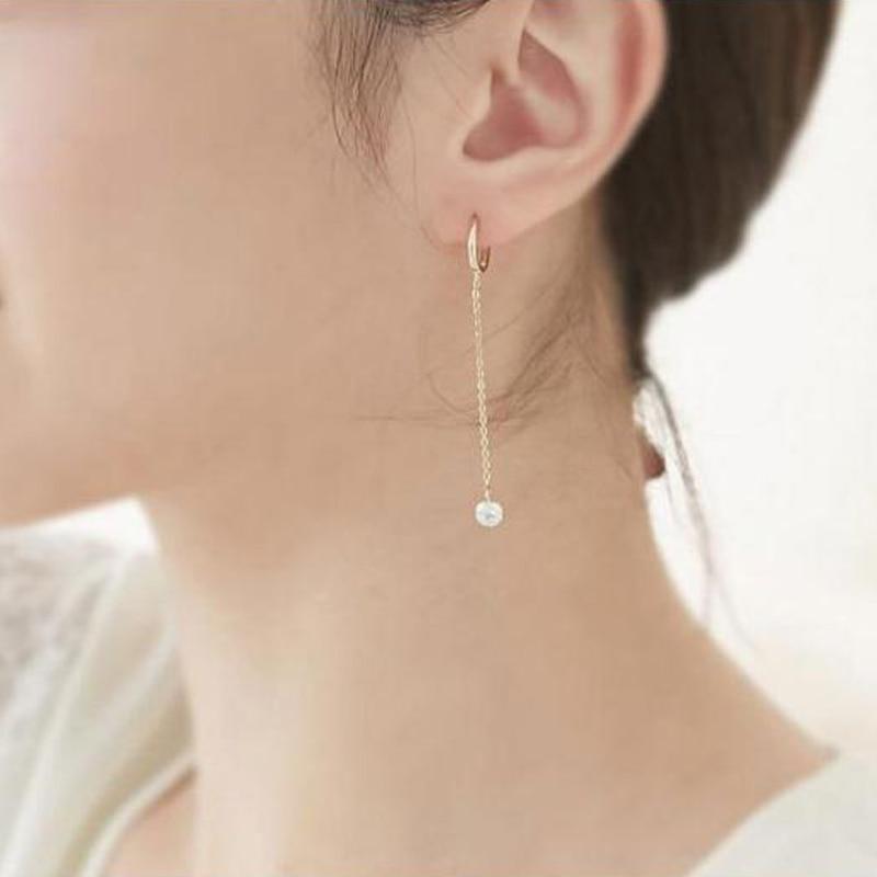 Classic Gold Color Long Crystal Earrings Simple Cubic Zirconia Tassel Geometric Drop Earrings For Women Girls Fashion Jewelry