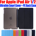Fashion Ultrathin Smart Cover For iPad Air PU Leather Case + PC translucent back Case for Apple ipad air 1 2 I609