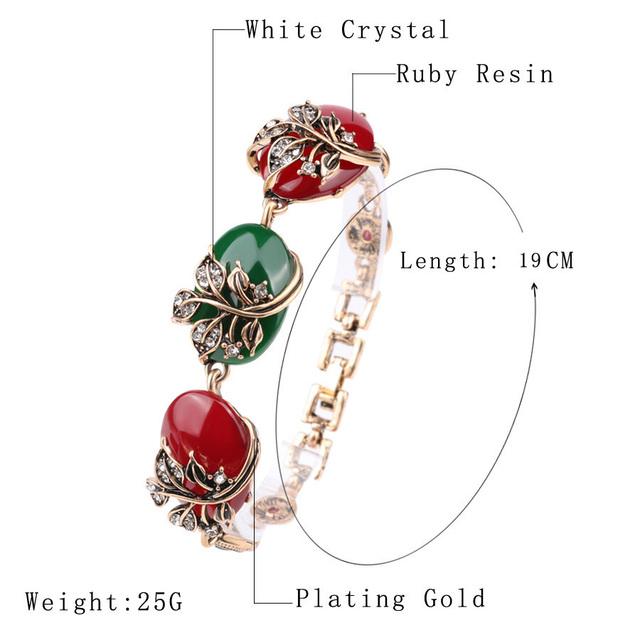 Gold Plated Vintage Colorful Resin Boho Bracelet