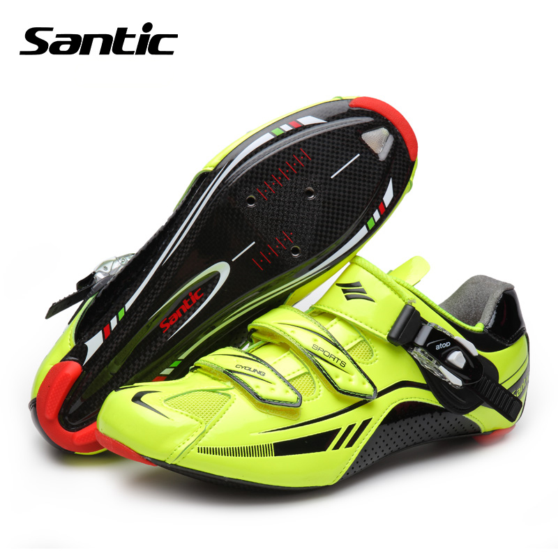 все цены на  Santic Pro Racing Team Cycling Shoes Men Ultralight Carbon Fiber Road Bike Shoes Self-locking Bicycle Shoes Sapatilha Ciclismo  онлайн