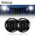 Capa preta de 7 Polegada 75 W Alto/Baixo Farol Do Carro LED DRL 12 V 24 V Condução head Light para Jeep Wrangler